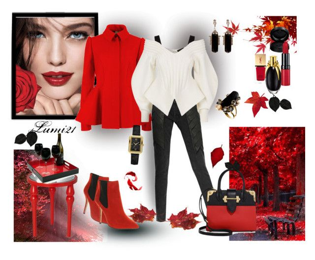 red autumn by lumi-21 on Polyvore featuring Burberry, Ted Baker, Avelon, Office, Prada, GUESS, Johnny Loves Rosie, GAB, Yves Saint Laurent and Puji