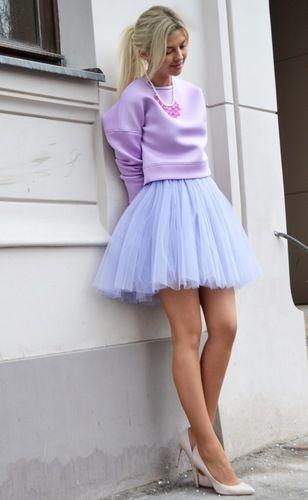 """Пышная юбка-мини из мягкой сетки цвет """"Лаванда"""""""