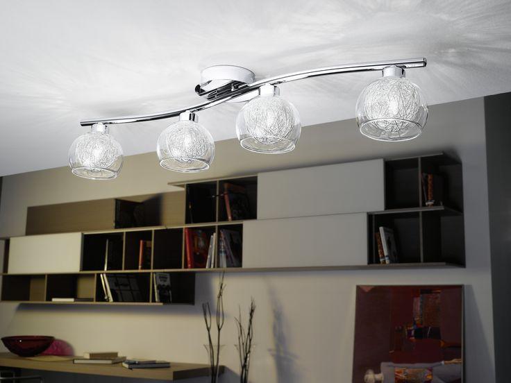 Eglo Lighting / Oviedo / Chrome & Aluminium 4 Lamp Semi Flush Light
