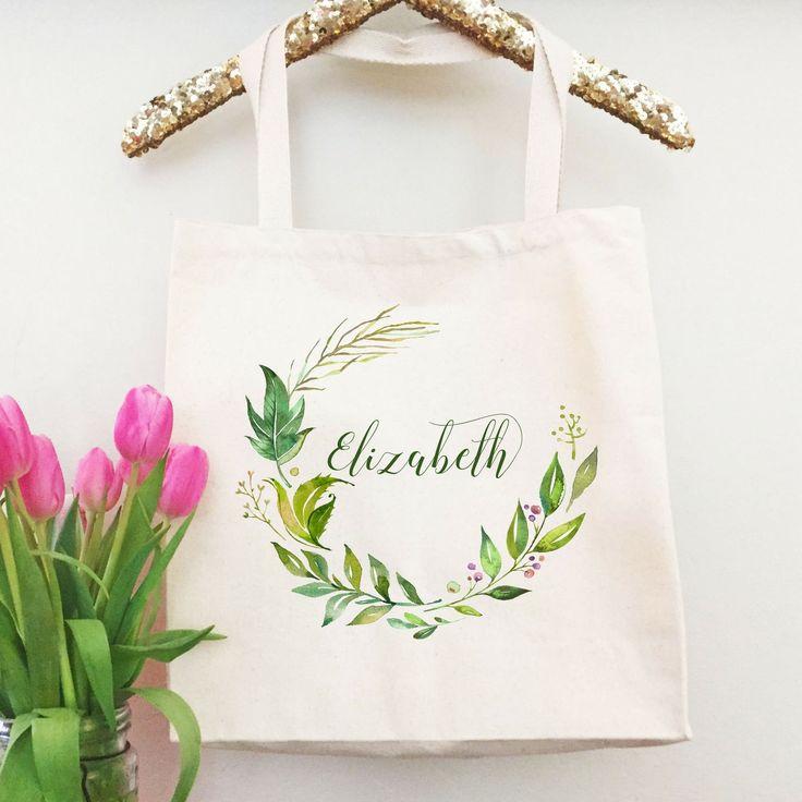 Bridesmaid Tote Bag Sets | Bridesmaid Totes | Natural Organic Greenery Wedding Style | Rustic Wedding Bridal Party Gift | Custom Tote Bag | http://etsy.me/2FmTqkR #bagsandpurses #green #wedding #easter #gold #totebag #bridesmaidtotebag #monogramtote #personalizedtote