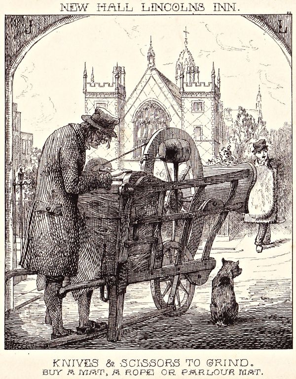 """""""London Cries & Public Edifices"""" by John Leighton (1851): """"Knife Grinder at…"""