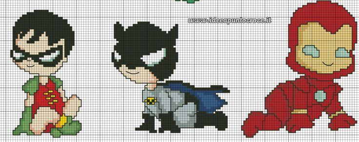 schema punto croce supereroi baby