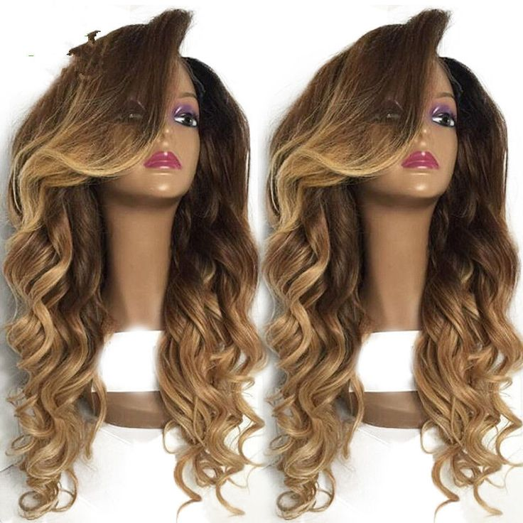 """100% Brazilian Remy Human Hair Lace Front Wig Full Lace Wig Ombre Color 16""""-24"""" #HotQueen #FullWig"""