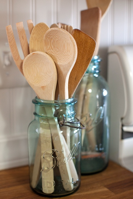 mason jars; I don't typically like them, but this is a cute kitchen idea