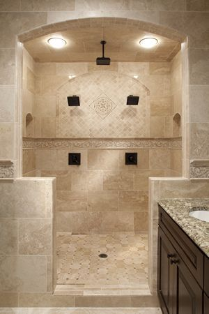 a dream shower with beautiful ceramic tile feature wall after your tile floor is beautifully