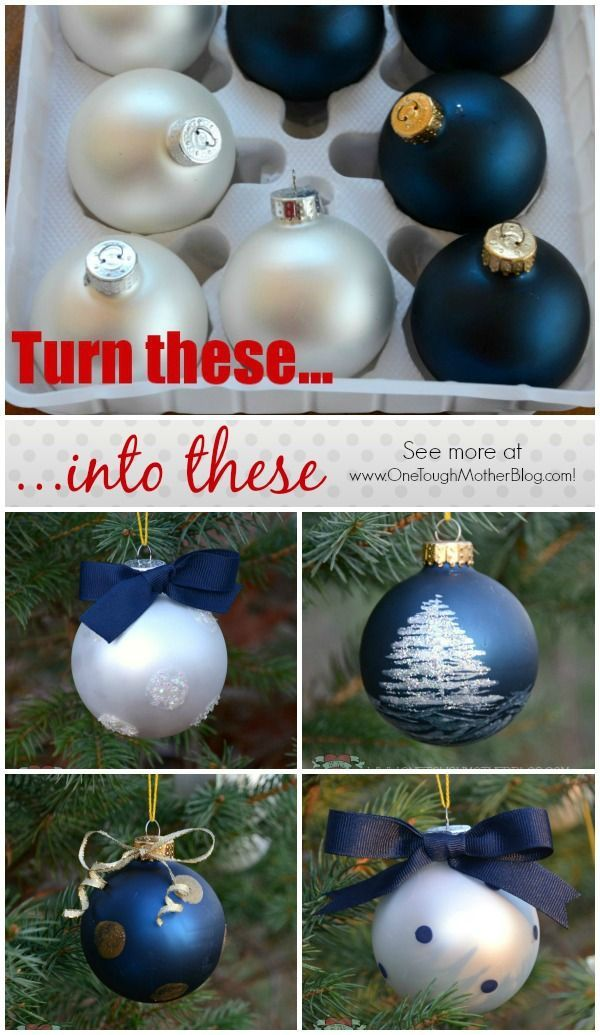 Turn inexpensive plain bulb ornaments into a hand-painted designer ornament set!  Beautiful Christmas ornaments can even make a great gift idea!