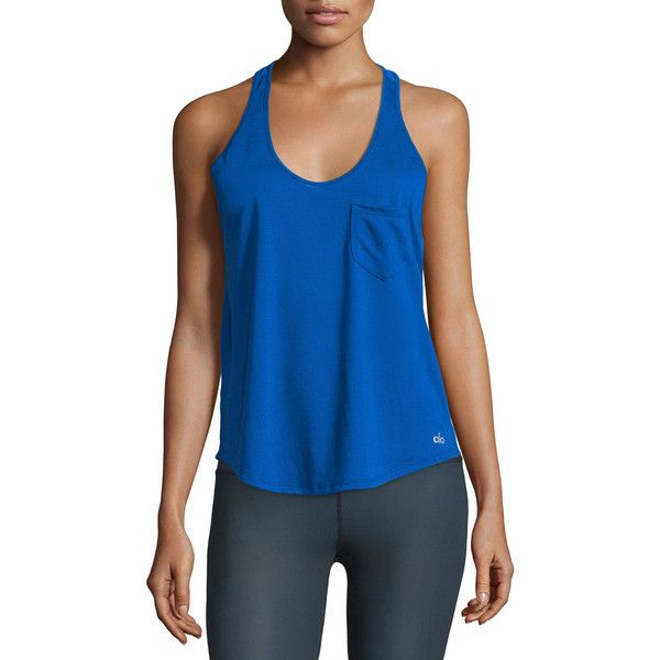 Alo Yoga Extreme Racer Mesh Sport Tank Top ($51) ❤ liked on Polyvore featuring activewear, activewear tops, deep electric blu, alo yoga, sweater pullover, sports pullovers, blue pullover and sport pullover