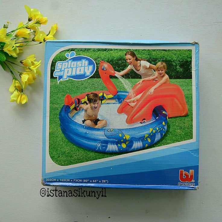 Bestway Viking Play Pool Rp. 280,000  Size : 193 x 170 x 76cm 》Safety valves 》Sturdy pre-tested vinyl 》Removable slide with tie rope and built in grommests 》Water sprayer attaches to garden hose 》Inflatable cushion on pool floor for extra comfort 》Water capacity (75%) 330 Litre  age : 3+