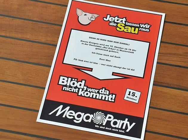 Einladung MegaParty von Wunschblatt