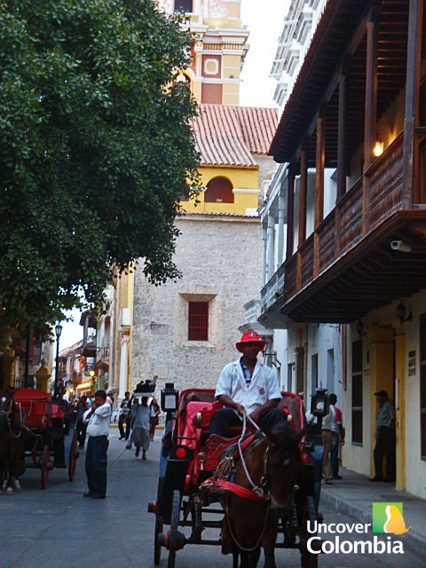 Horse carriage inside the walled city of Cartagena, Colombia