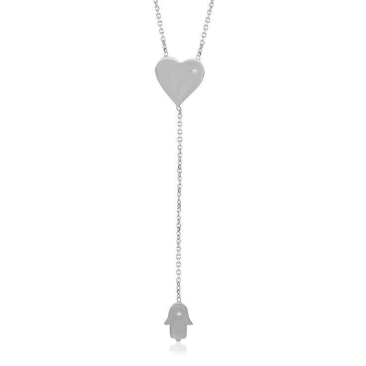 El Fatima / Herz Lange 925 Silber Kette