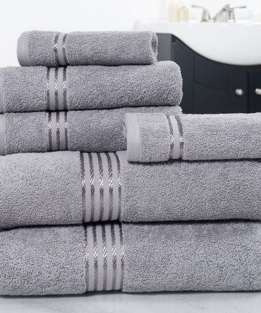 Another great find on #zulily! Silver Six-Piece Egyptian Cotton Towel Set #zulilyfinds