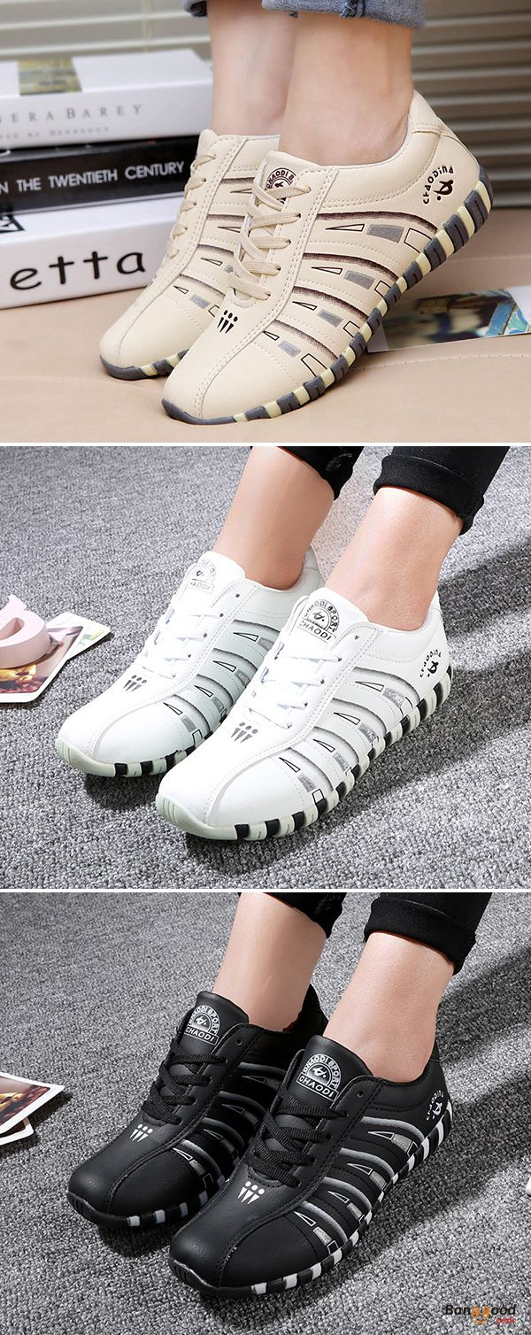 US$22.98 + Free shipping. Size: 5~10. Color: Black, Beige, White. Fall in love with casual and sport style! Printing Trainers Lace Up Comfortable Sport Casual Shoes For Women.