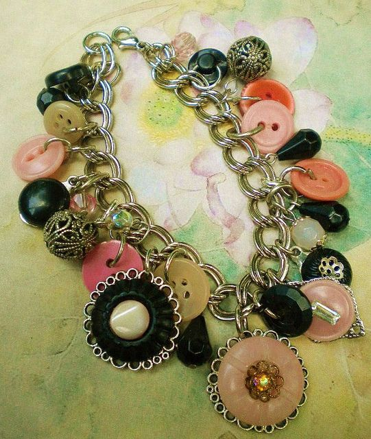 Recycled Vintage Antique Celluloid Glass Button Bracelet by enamelowl, via Flickr