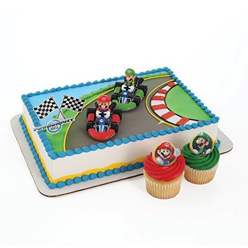 Super Mario Cake Topper and 24 Cupcake Topper Rings *** Click image for more details.