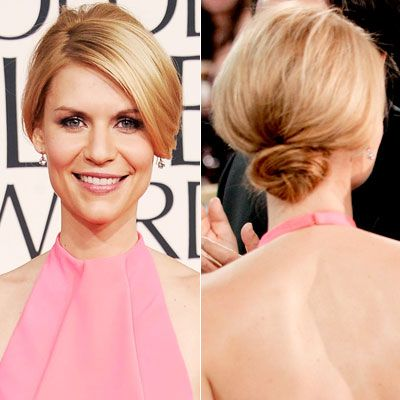 WHY WE LOVE IT: A deep side part and cheekbone skimming layers give Claire Danes's hairstyle a sophisticated shape.