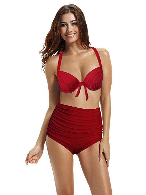 zeraca Women s Two Piece Plus Size Push up High Waist Bathing Suits Swimsuit  (L14 40C 12487bb039
