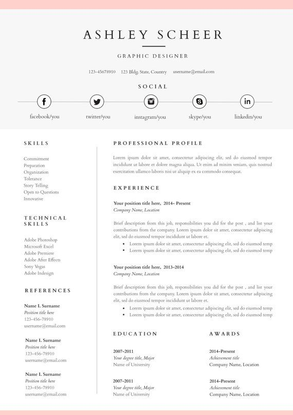 Professional Resume Template Resume Template For Word Cv Template