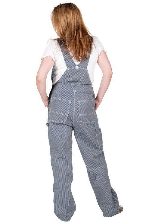 Stylish hickory stripe ladies' dungarees from Key Industries