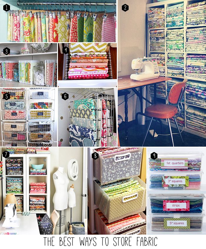 "How to store fabric- 1. Use skirt hangers to hang your fabric.  2. fold fabric uniformly and place in bookshelf (http://turningturning.com/tutorial-folding-fabric/) 3. Use cardboard to make ""mini-bolts"". 4. Store fabric in a file cabinet. 5. Use drawers to sort fabric by color. 6. Hang fabric on a pants hanger. 7. Organized sewing room! 8. Fold fabric in clear plastic drawers. 9. Store cut fabric in labeled containers."