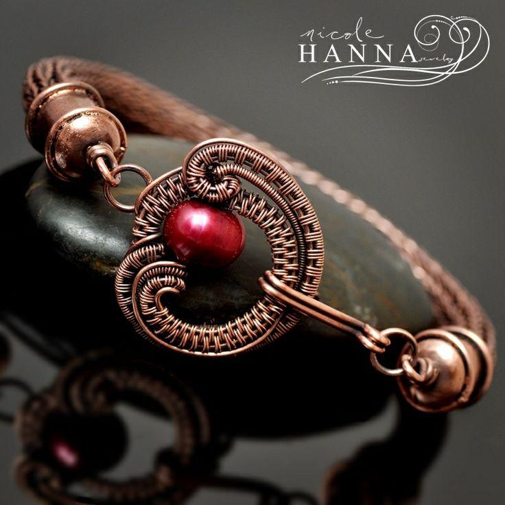 Cranberry Curl Viking Knit Copper Bracelet · Nicole Hanna Jewelry