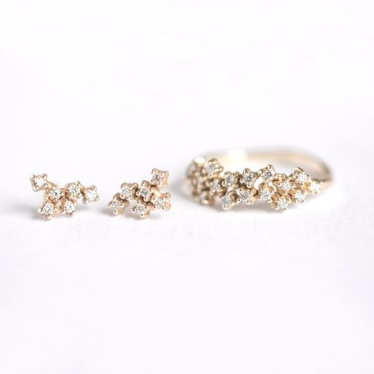 tiny diamond cluster set of earrings and ring / 27JEWELRY