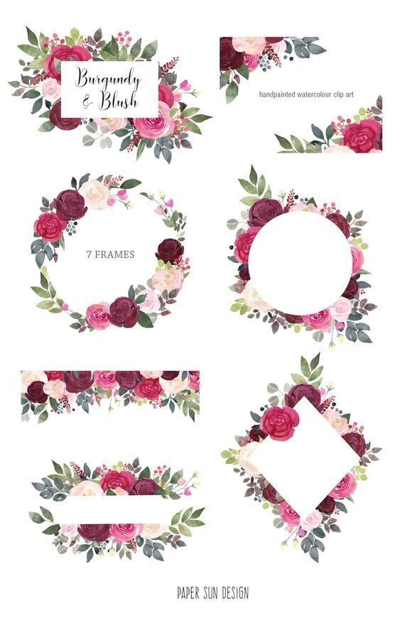 Watercolor Floral Clipart Burgundy And Blush Flower Frames