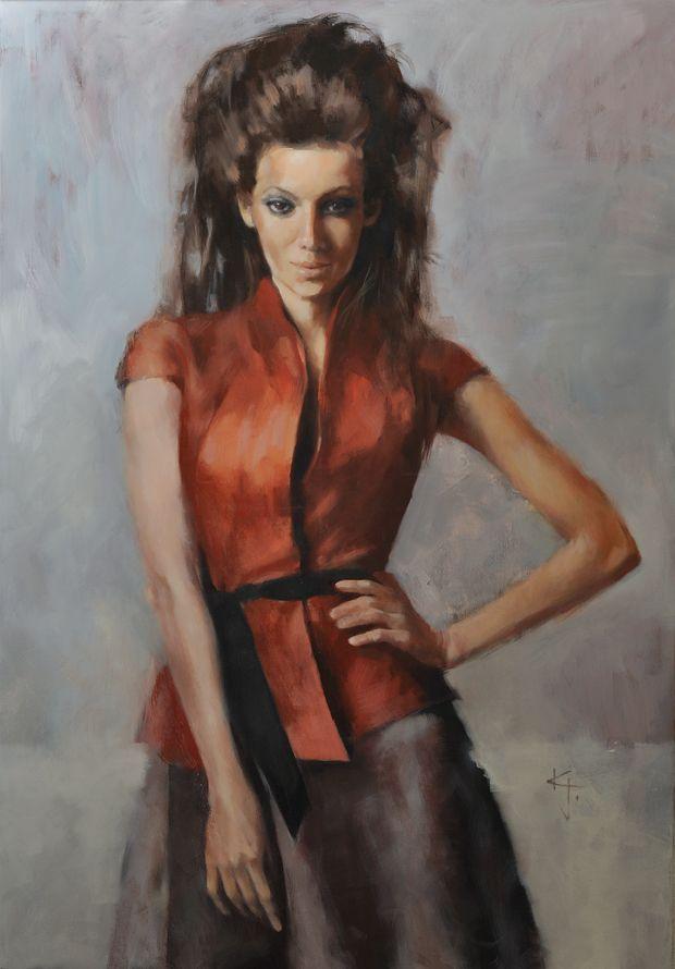 red / oil on canvas, 70x100 cm #painting #oil #portrait #fashion #figurative #art