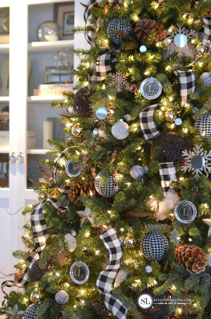 Black And White Plaid Buffalo Check Christmas Tree Trees