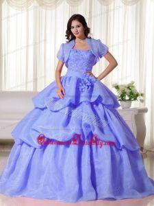 Blue Ball Gown Strapless Floor-length Organza Hand Flowers Quinceanera Dress