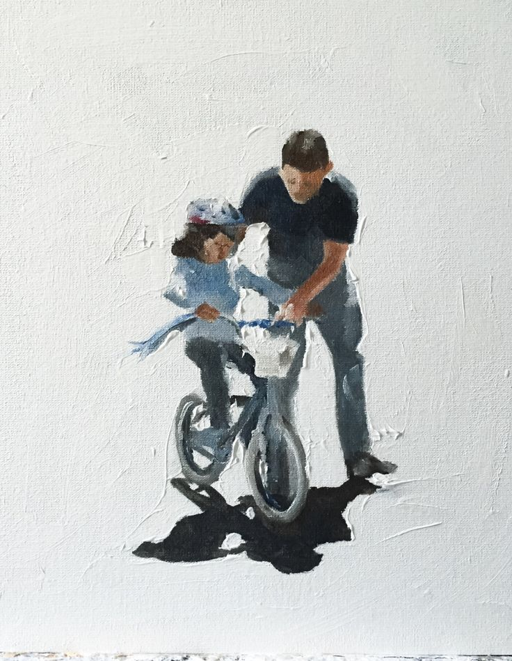 Apa tanítás lánya lovagolni kerékpár által JamesCoatesFineArt