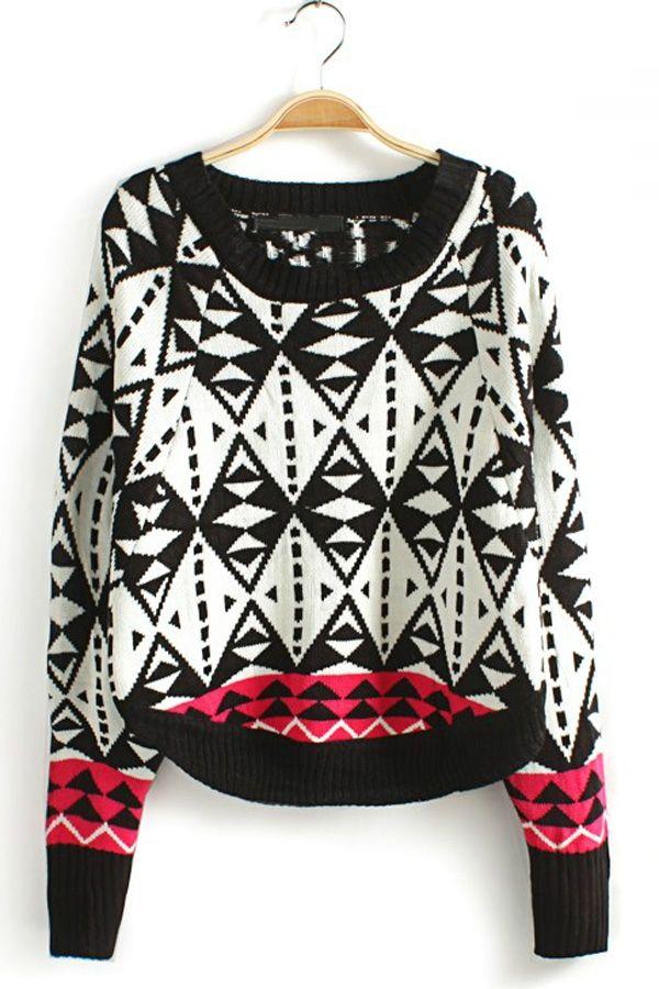 Warm Geometrical Graphic Pullover - OASAP.com