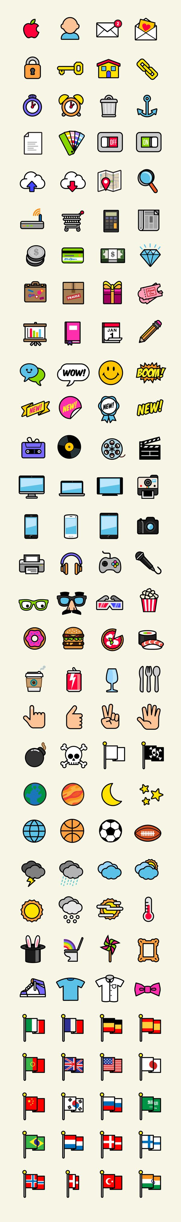 Pop icons essential pack (140 icons) by Rubens Cantuni, via Behance
