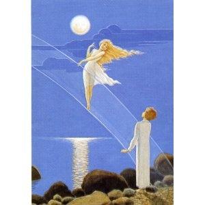 Rudolf Koivu Illustration Print - Boy and Moon