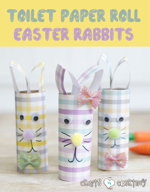 Easter Craft for Kids: DIY Gingham Scrapbook Paper and Toilet Paper Roll Easter Rabbits