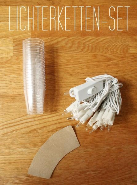 Mit diesem Set kannst du deinen schönen Stoffresten noch einen glänzenden Auftritt geben!    *Set besteht aus: 20 Plastikkegel, 1 Lichterkette mit 20