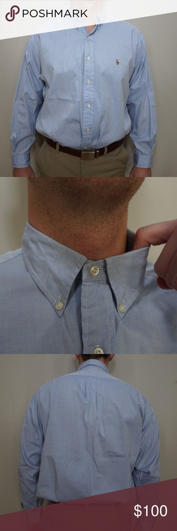 """Ralph Lauren men's blue dress shirt Great Ralph Laurent light blue dress shirt.  Length is 31.5"""" inches front and back.  Size on shirt says 17-34.   Photo model normally wears a 17"""" neck with a 36/37 length for reference.  MAKE AN OFFER!!! Ralph Lauren Shirts Dress Shirts"""