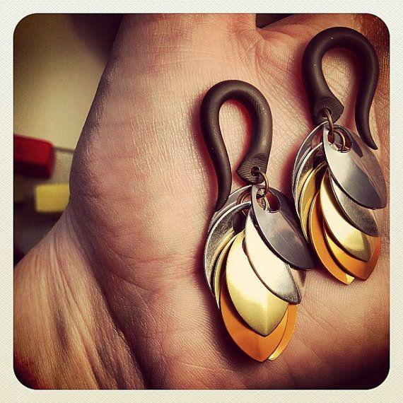 Kettenhemd Skalen baumelt - Ohrringe für gedehnte Lobes - Messgeräte