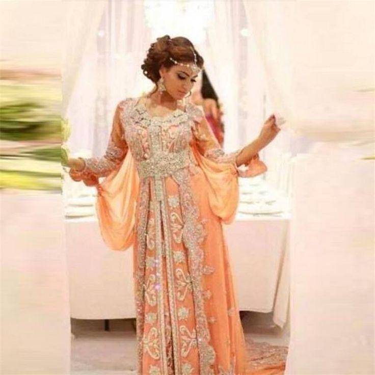 Élégant Fantaisie Abaya Musulman Robe de Soirée Dubaï Marocain Islamique Caftans Perlée À Manches Longues Arabe Robes De Soirée Robes(China (Mainland))