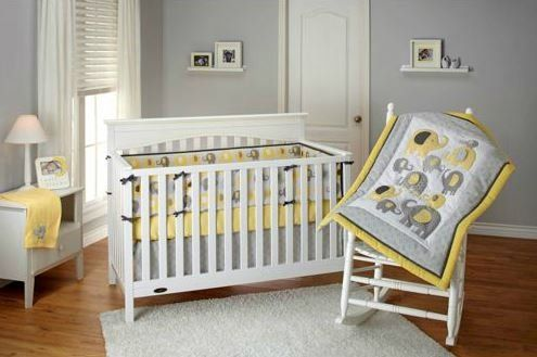 Nojo Little Bedding Elephant Time Yellow Baby Bedding Collection