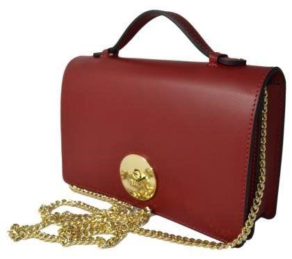 Mini handtas Rugato Ieder rode kleur uit Italië met ketting schouderriem