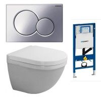 Toalett på bad og WC. Duravit Starck 3 Compact Wall Hung WC With Geberit Frame & Flush Plate Pack