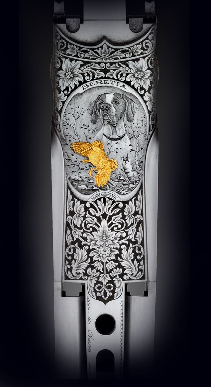 Beretta SO 10 EELL, engraving and project model 3G2 by Dassa Engravings Italy - Deep Ornamental and bulino game scene - Woodcock in gold inlaid