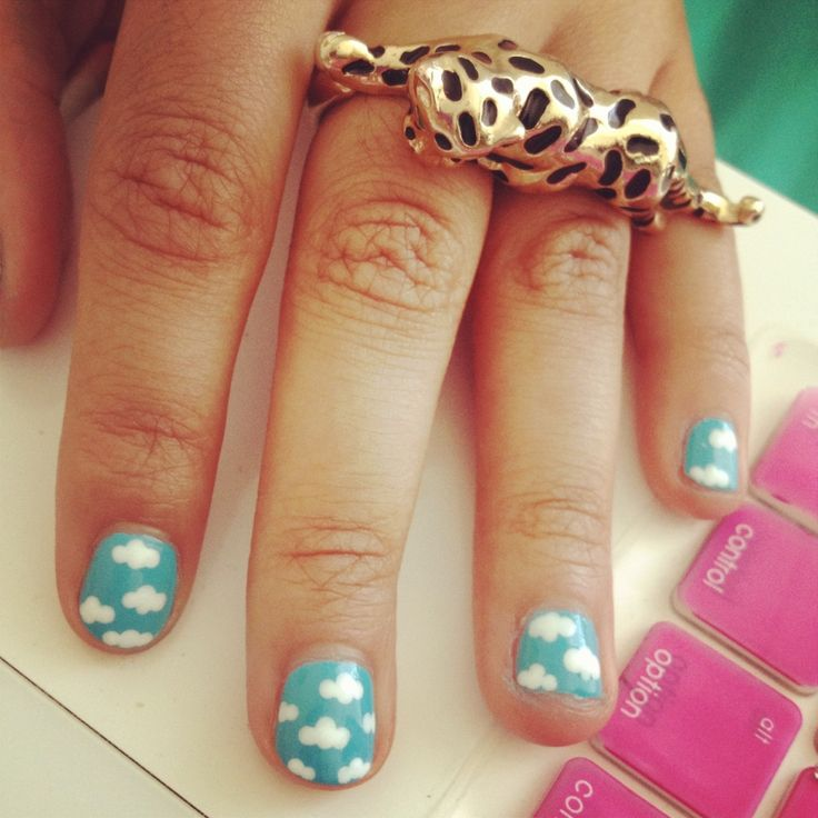 27 best nails images on pinterest nail ideas crafts and cute general cute white cloud motif in sky blue short nail art design ideas for teens prinsesfo Images