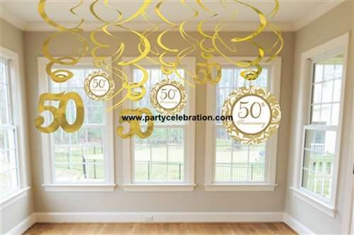 50th anniversary ideas: gold decorating swirl 50th anniversary