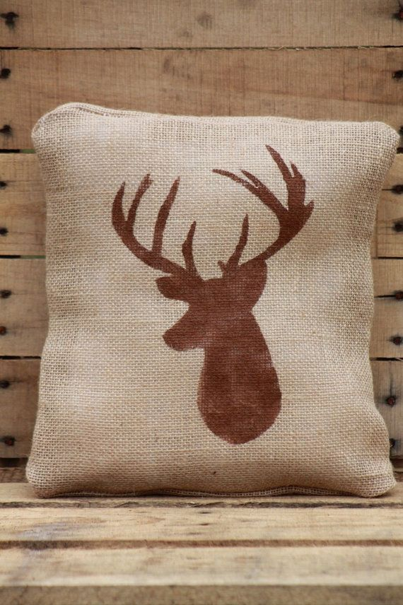 Decorative Burlap Pillow Covers : Deer Cabin Decor Rustic DIY Burlap Jute Decorative Pillow Cover 12x12