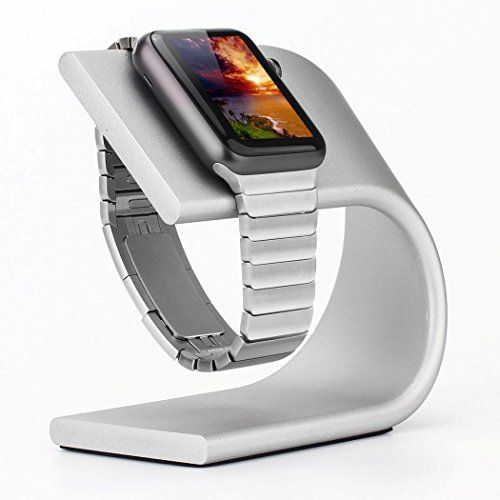 Apple Watch Stand, Renoj Apple iWatch Stand Charging Dock Station Sturdy Aluminum Platform Holder for 38mm and 42mm Sport / Edition 2015 Models ¨C Silver -- Click on the image for additional details.