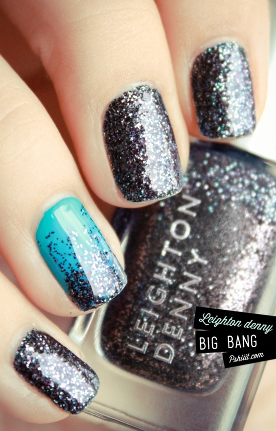switch the dark gray sparkle to a silver glitter polish, and it would look great with the short blue mori lee dress :)