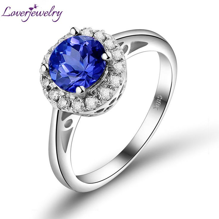 Free Shipping Vintage Round 6mm 18Kt White Gold Natural Diamond Tanzanite Ring Wholesale Fine Jewelry for Women Wedding Party