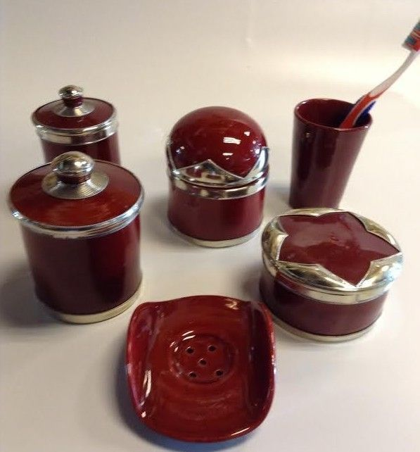 Luxury Burgundy Red Bathroom Vanity Accessories 6 Pieces Set Moroccan  Pottery